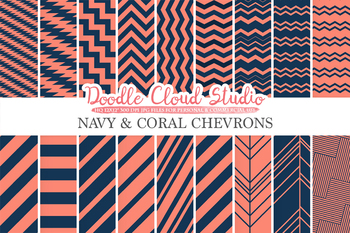 Navy and Coral Chevron digital paper, Chevron and Stripes  pattern, tribal