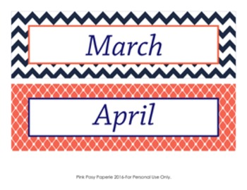 Navy and Coral Classroom Decor Monthly Calendar Headers