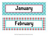 Aqua and Red Classroom Decor Monthly Calendar Headers