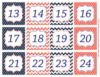 Navy and Coral Classroom Decor Monthly Calendar Numbers