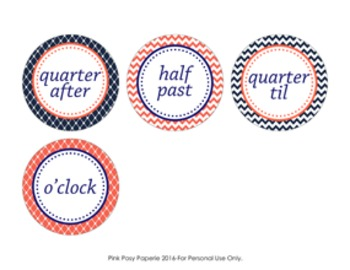 Navy and Coral Clock Number Labels