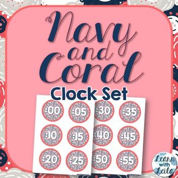 Navy and Coral Clock Set