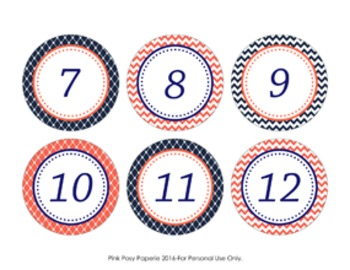 Navy and Coral Cubby Number Labels 1-30