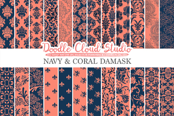 Navy and Coral Damask digital paper, Swirls patterns, Digital Floral Damask