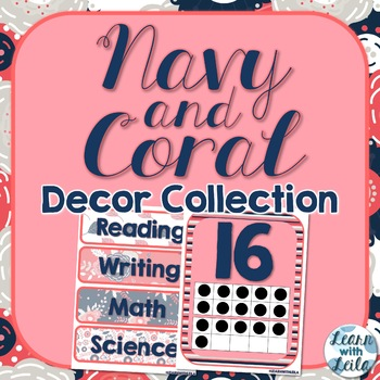Navy and Coral Decor Collection