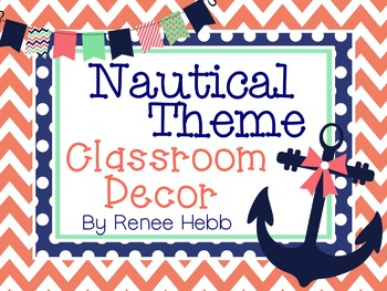 Navy and Coral Nautical Theme Decor