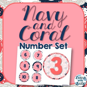 Navy and Coral Number Set