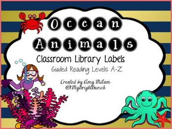 Navy and Coral Ocean Animal Library Labels