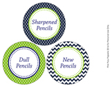 Navy and Green Pencil Caddy Labels