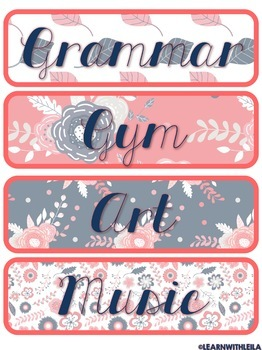Navy and Coral Subject Labels