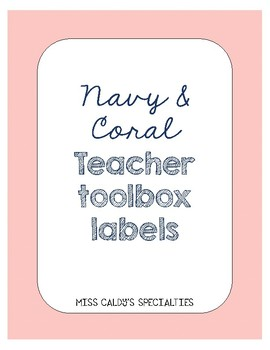 Navy and Coral Teacher Toolbox Labels