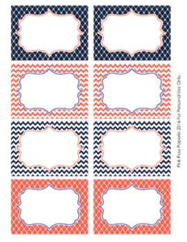 Navy and Coral Theme Classroom Decor Bin Labels
