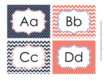 Navy and Coral Word Wall Headers