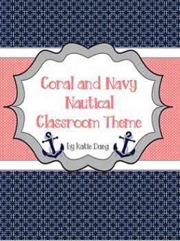Navy and Coral/Salmon Nautical Classroom Theme (with editable pages)