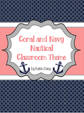 Navy and Coral/Salmon Nautical Classroom Theme (with edita