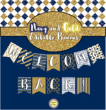 Navy and Gold Banner Flags ~ Editable ~