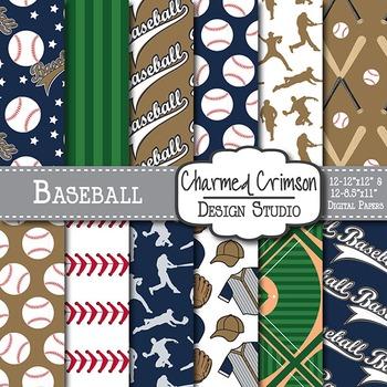 Navy and Gold Baseball Digital Paper 1500
