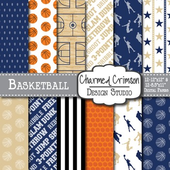 Navy and Gold Basketball Digital Paper 1300