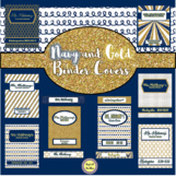 Navy and Gold Binder Covers and Spines ~ EDITABLE ~