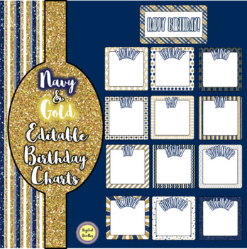 Navy and Gold Birthday Charts