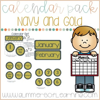 Navy and Gold Calender Set