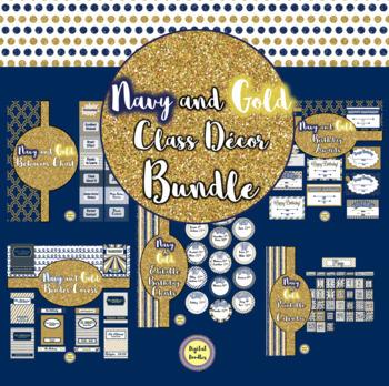 Navy and Gold Class Decor BUNDLE