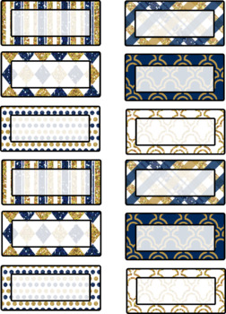 Navy and Gold Classroom Labels