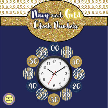 Navy and Gold Clock Numbers
