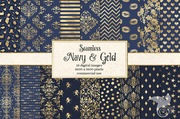 Navy and Gold Digital Paper, seamless gold foil patterns