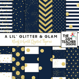Navy and Gold Glitter and Glam Digital Papers Set
