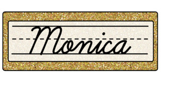 Navy and Gold Name Plates/Tags ~ EDITABLE ~
