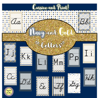 Navy and Gold Theme Letters