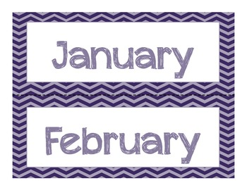 Navy and Gray Chevron Calendar