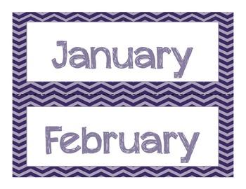 Navy and Gray Chevron Calendar