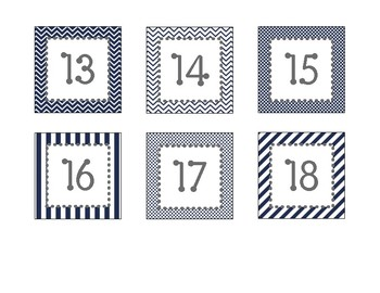 Navy and Gray Print Calendar Numbers