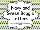 Navy and Green Chevron Boggle Letters
