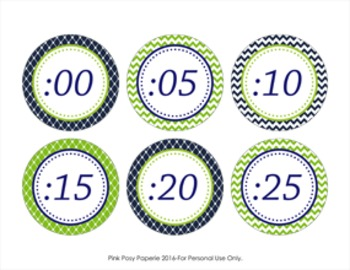 Navy and Green Clock Number Labels