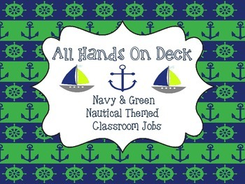 Navy and Green Nautical Classroom Jobs
