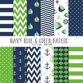 Navy and Green Nautical Digital papers