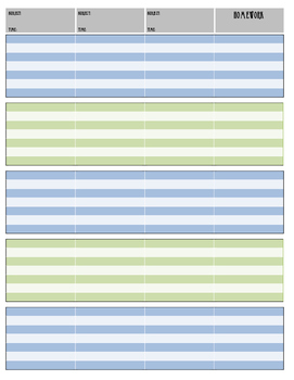 Navy and Green Nautical Lesson Plan Pages