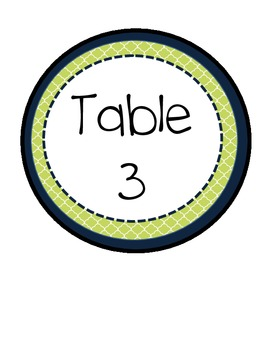 Navy and Green Table Signs