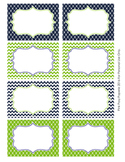 Navy and Green Theme Classroom Decor Bin Labels