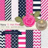SET: Navy and Hot Pink Digital Paper, Pink Rose Flower Clipart