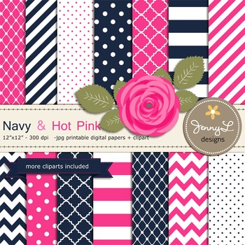 SET: Navy and Hot Pink Digital Paper, Pink Rose Flower Clipart