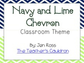 Navy and Lime Chevron Classroom