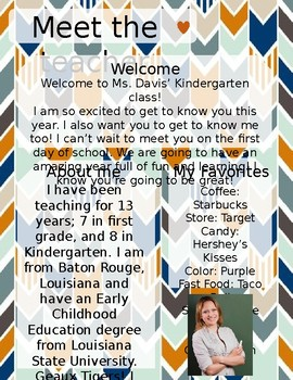 Navy and Orange Chevron Meet The Teacher Template **Editable**