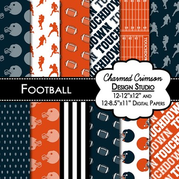 Navy and Orange Football Digital Paper 1418