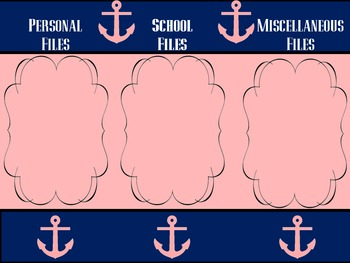 Navy and Pink Anchor Desktop Wallpaper