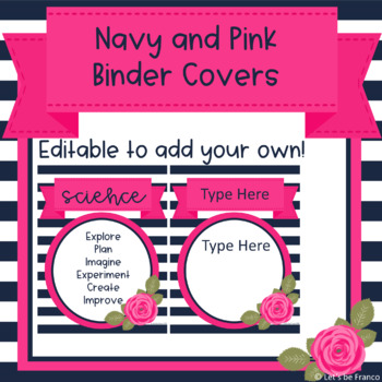 Navy and Pink Binder Covers - Editable