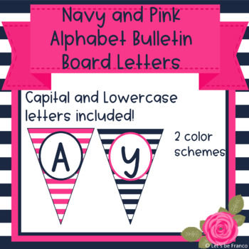 Navy and Pink Classroom Alphabet Bulletin Board Letters